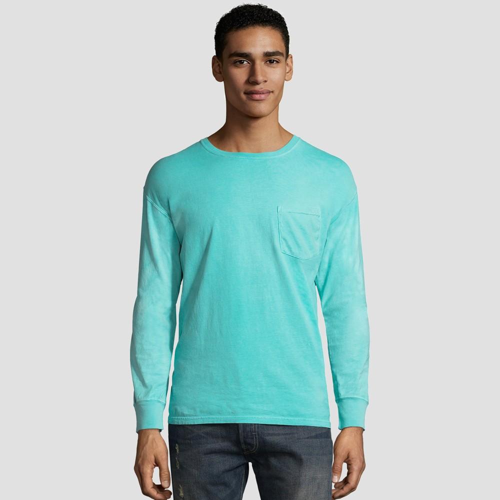 Image of Hanes Men's Long Sleeve 1901 Garment Dyed Pocket T-Shirt - Mint L, Size: Large, Green