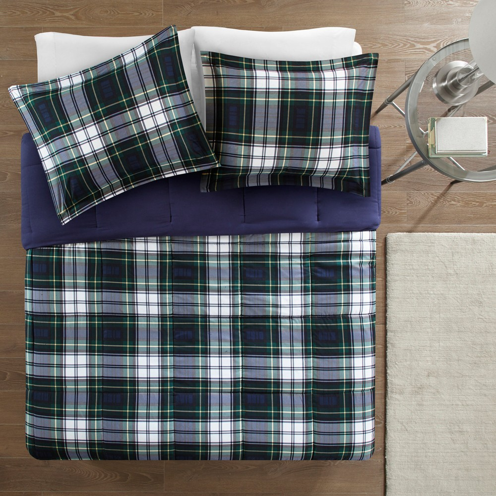Navy (Blue) Plaid Hartford 3M Scotchgard Down Alternative All Season Comforter Set Twin/Twin XL 2pc