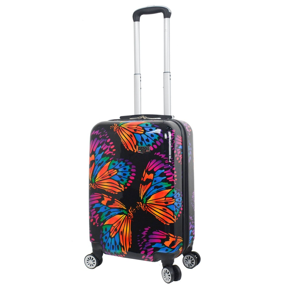 "Image of ""Mia Viaggi ITALY 20"""" Hardside Carry On Suitcase - Ink Butterflies, MultiColored"""