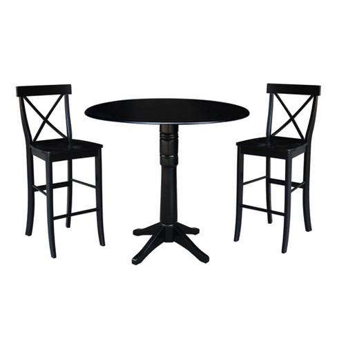 3 Piece Bar Height Table And Chairs Set Round Pedestal Dining Pub With 2 Stools