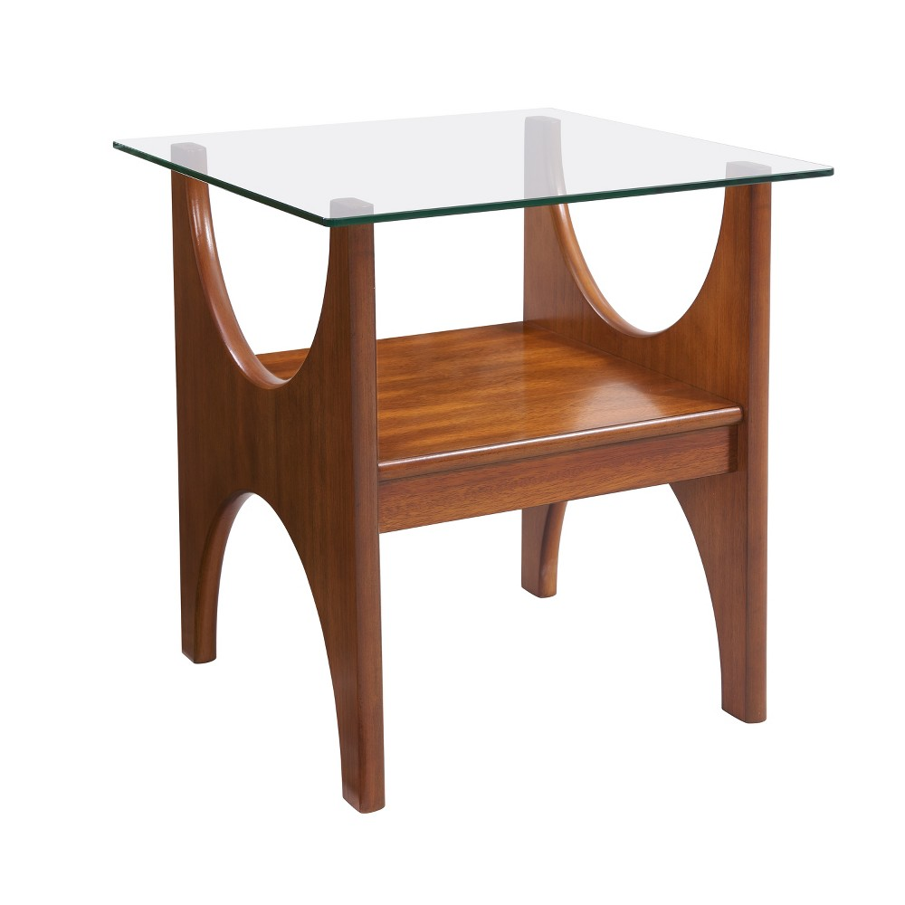 Seraphina Glass Top End Table Brown - Aiden Lane