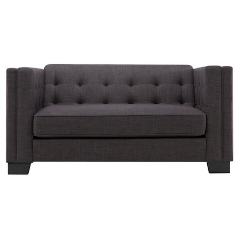 Flatiron Tufted Loveseat Charcoal - Inspire Q - image 1 of 10