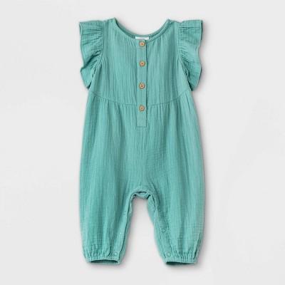 Baby Girls' Gauze Flutter Sleeve Romper - Cat & Jack™ Green 12M