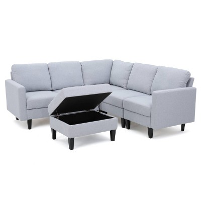 6pc Zahra Sectional Couch Set with Storage Ottoman Light Gray - Christopher Knight Home
