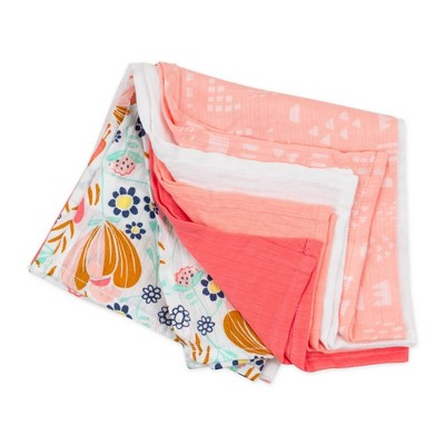 Honest Baby Organic Cotton Cuddle Square - Flower Power 5pk