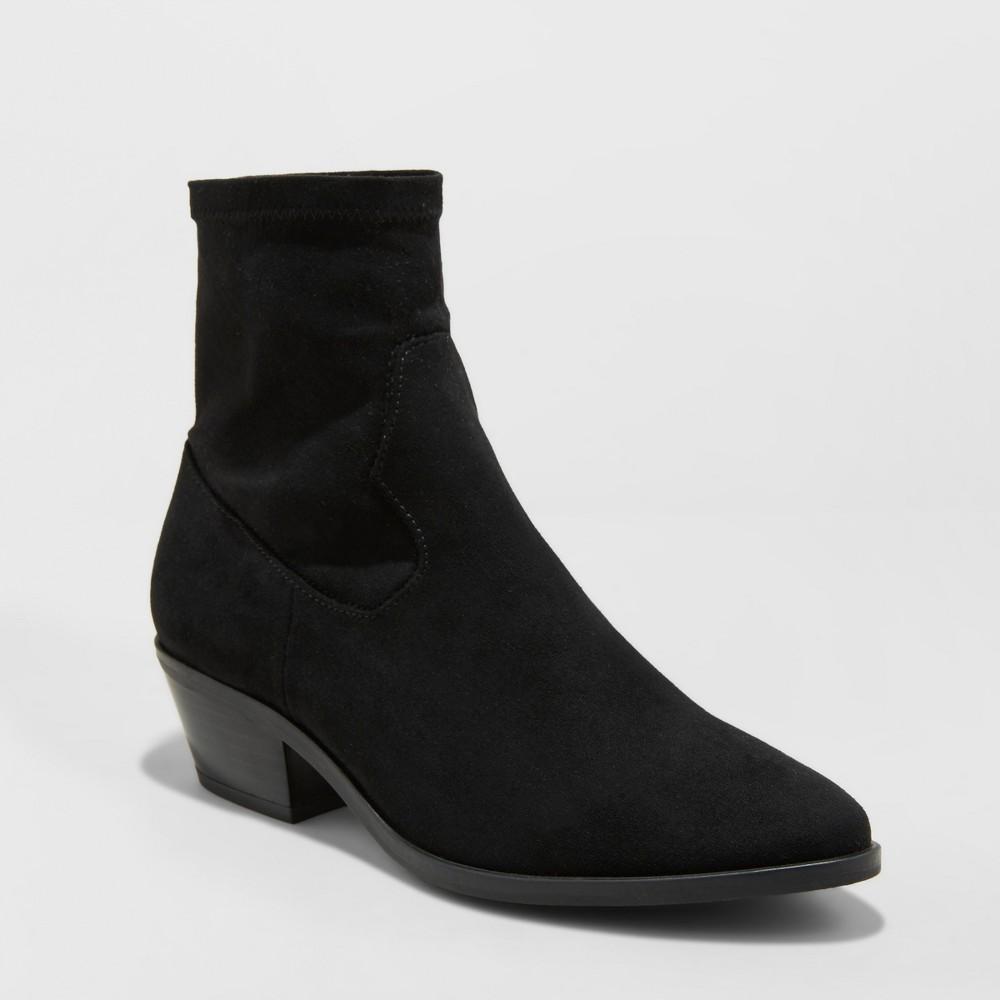 Women's Loraine Microsuede Wide Width Western Sock Booties - Universal Thread Black 9W, Size: 9 Wide