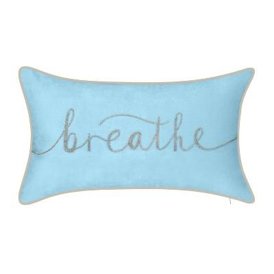 "12""x20"" Oversize Celebrations 'Breathe' Velvet Embroidered Lumbar Throw Pillow - Edie@Home"