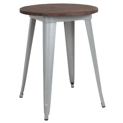 "Flash Furniture 24"" Round Metal Indoor Table with Rustic Wood Top"