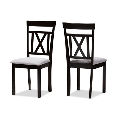 Set of 2 Rosie Espresso Finished Dining Chair Gray/ Brown - Baxton Studio