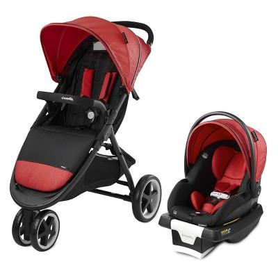Evenflo Gold Verge3 Smart Travel System with SecureMax Infant Car Seat - Garnet