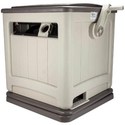 Suncast Swivel Smart Trak Hose Hideaway 225 Foot Hose Reel Storage Bin, Taupe