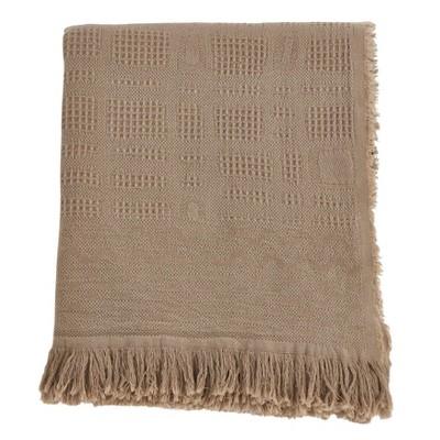 Cross Hatch Waffle Weave Throw Blanket Taupe - Saro Lifestyle