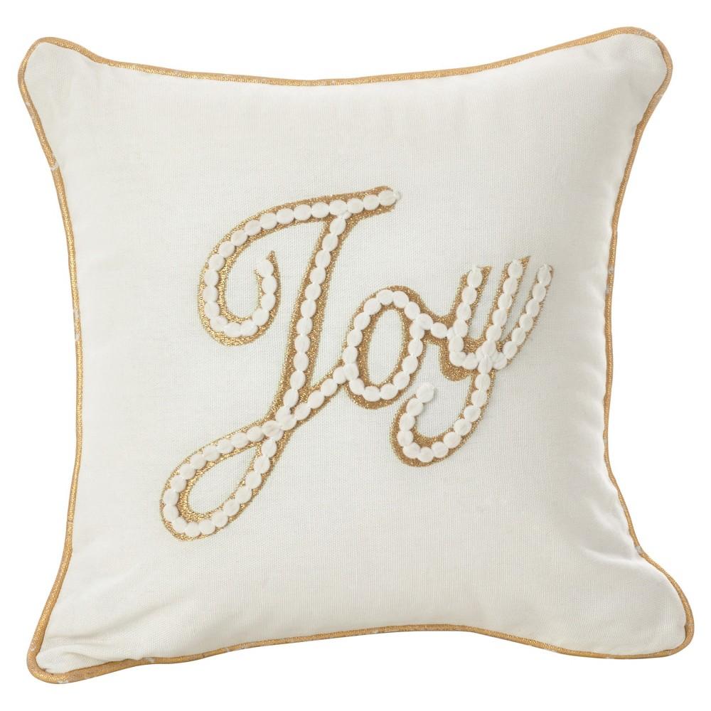 White Donnelou Joy Embroidered Throw Pillow (12) - Saro Lifestyle