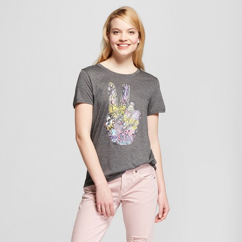 Women's Peace Universal Short Sleeve Crew Neck T-Shirt - Modern Lux (Juniors') - Charcoal - image 1 of 2
