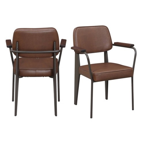Swell 2Pc Ashtyn Faux Leather Chair Set Cognac Picket House Furnishings Creativecarmelina Interior Chair Design Creativecarmelinacom