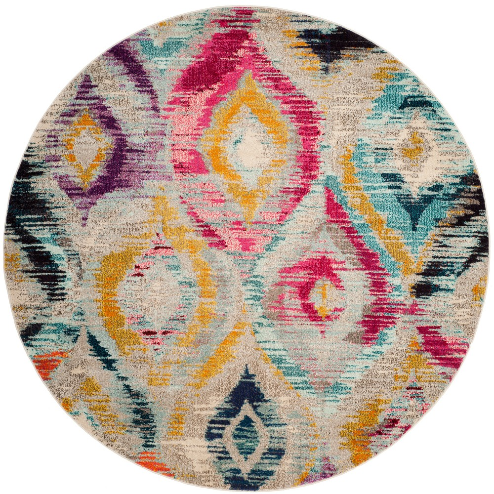 6'7 Shapes Round Area Rug - Safavieh, Multi-Colored