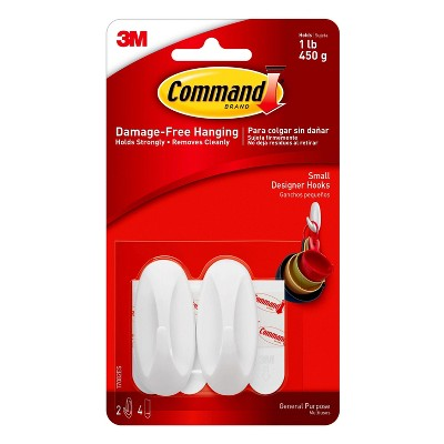 Command Small Sized Designer Hooks White