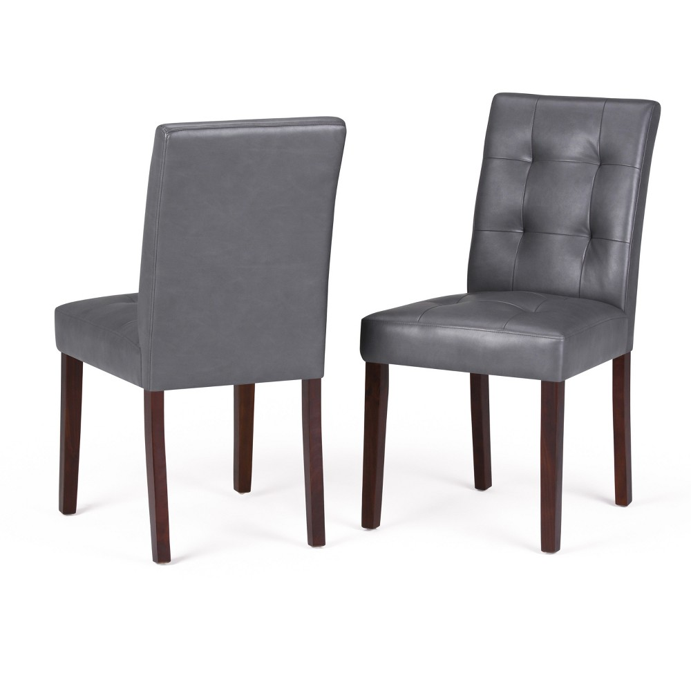 Jefferson Parson Dining Chair Set of 2 Stone Gray Faux Leather - Wyndenhall