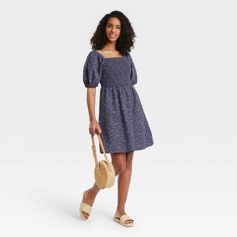 Women's Floral Print Puff Elbow Sleeve Smocked Dress - Universal Thread™ Navy - image 1 of 3