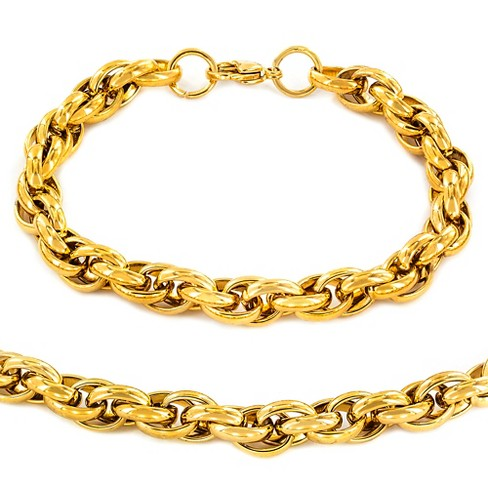 "Men's Gold Plated Stainless Steel Rope Chain Necklace (24"") and Bracelet (9"") Set - Gold (9mm) - image 1 of 3"