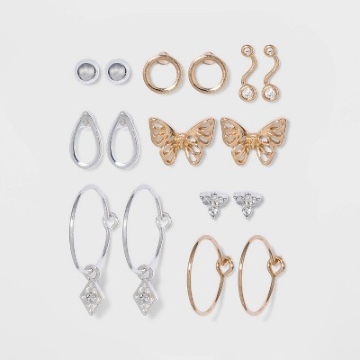 Cubic Zirconia Earring Set 8pc - A New Day™