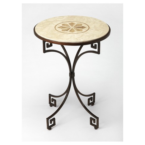 Rhea Fossil Stone Side Table - Metalworks - Butler Specialty - image 1 of 2