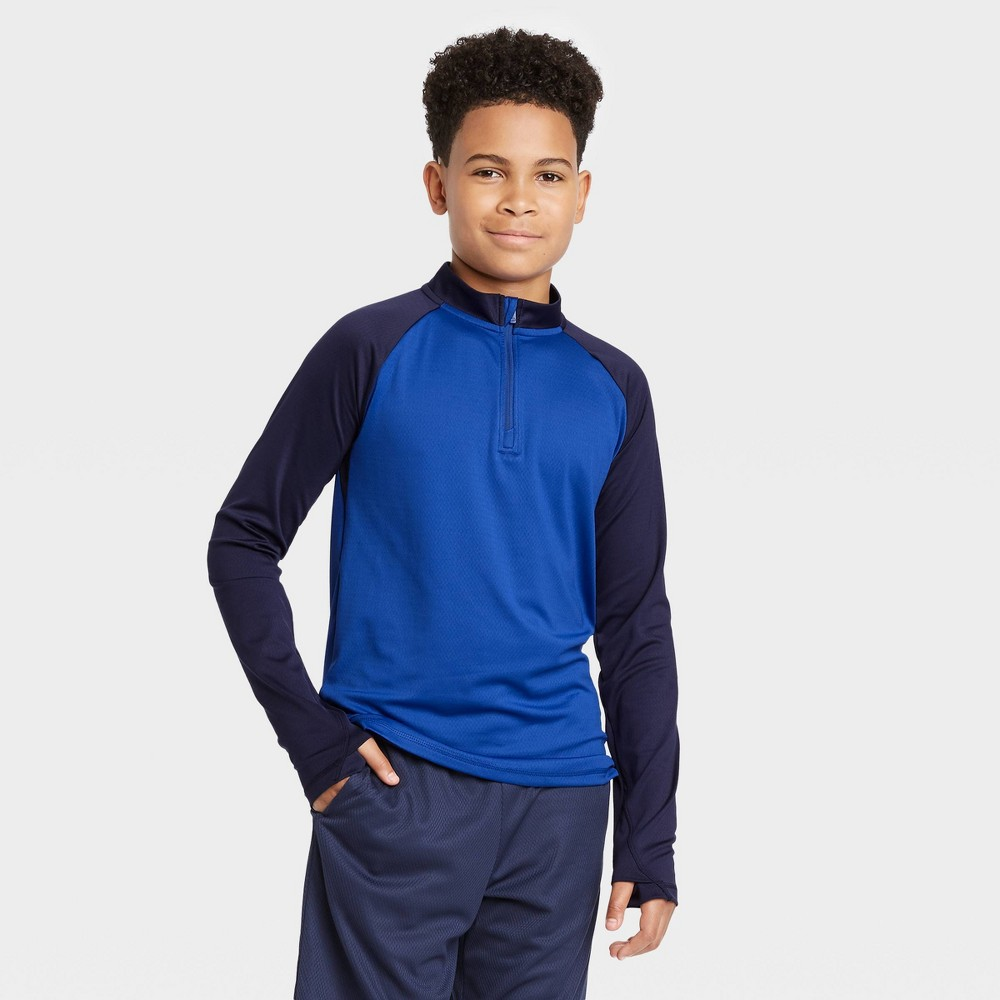Image of Boys' Performance 1/4 Zip Pullover - All in Motion Blue L, Boy's, Size: Large