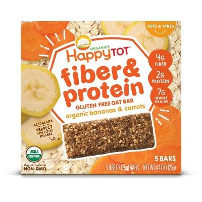 HappyTot Fiber & Protein Organic Bananas and Carrots Soft-Baked Oat Bar - 5ct/0.88oz Each
