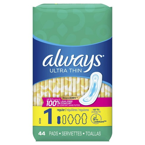 Always Ultra Thin Pads Size 1 Regular Absorbency Unscented - 44ct - image 1 of 4