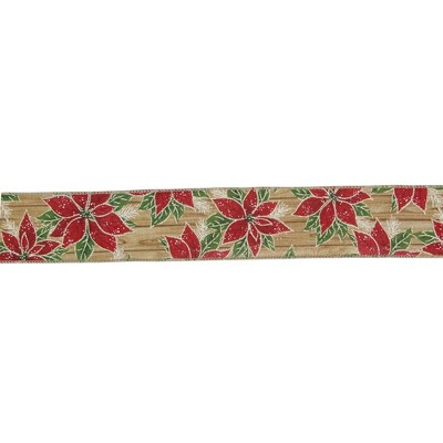 "Northlight Red and Green Poinsettia Christmas Wired Craft Ribbon 2.5"" x 16 Yards"