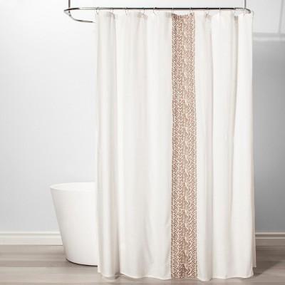 Stripe Shower Curtain Beige Linen - Threshold™