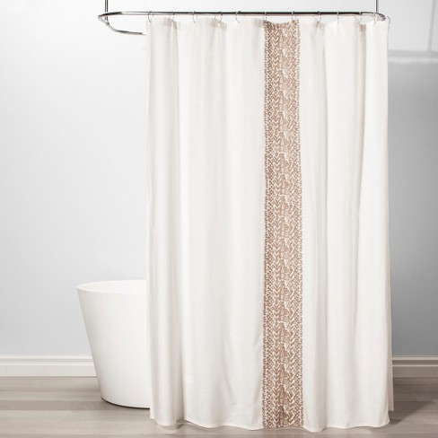 Stripe Shower Curtain Beige Linen