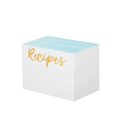 25ct Printed Cards Recipe Box In Paulownia Wood - Spritz™