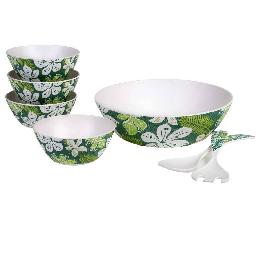 Image of 7pc Melamine Tropicali Salad Serving Set Green - Certified International