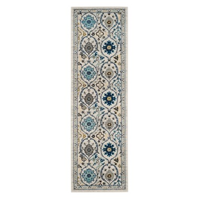 2'2 X7' Floral Loomed Runner Ivory/Blue - Safavieh