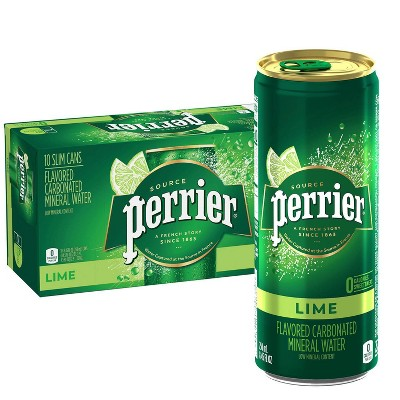 Perrier Lime Flavored Carbonated Mineral Water - 10pk/8.45 fl oz Slim Cans