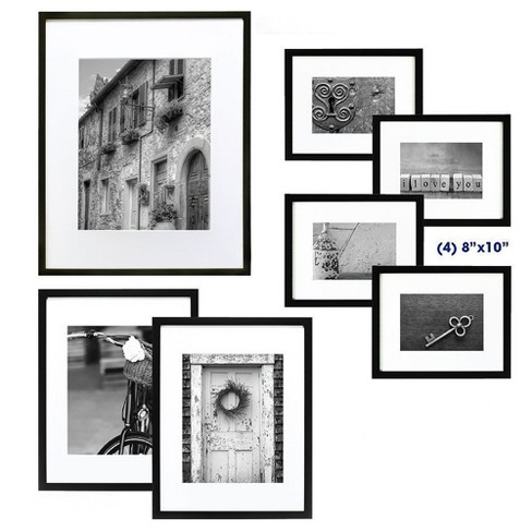Gallery Perfect 7 Piece Multi-Size Wall Frame Set - Black : Target