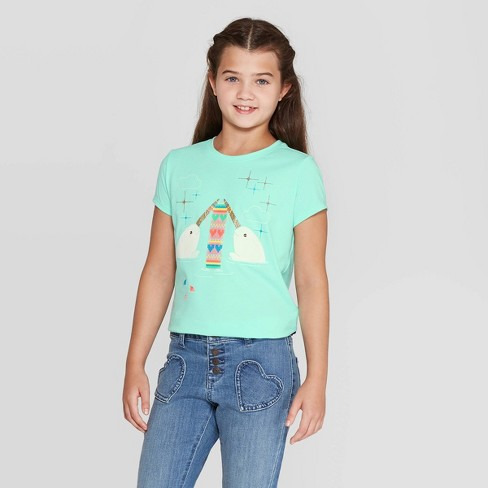 Girls' Short Sleeve Knitting Narwhal Graphic T-Shirt - Cat & Jack™ Mint - image 1 of 3