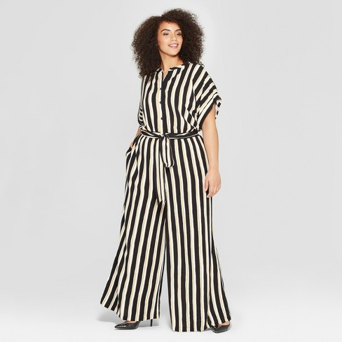 4fdebcf160 Women s Plus Size Striped Short Sleeve Belted Wide Leg Jumpsuit - Who What  Wear™ Black Yellow   Target