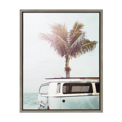 """18"""" x 24"""" Sylvie Blue Beach Van Framed Canvas By Amy Peterson Gray - Kate and Laurel"""