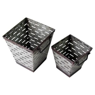 Square Metal Olive Bucket Gray 2pk - VIP Home & Garden