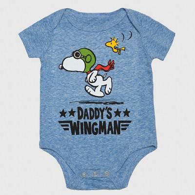 Peanuts Baby Boys' Wingman Onesie - Blue 3-6M
