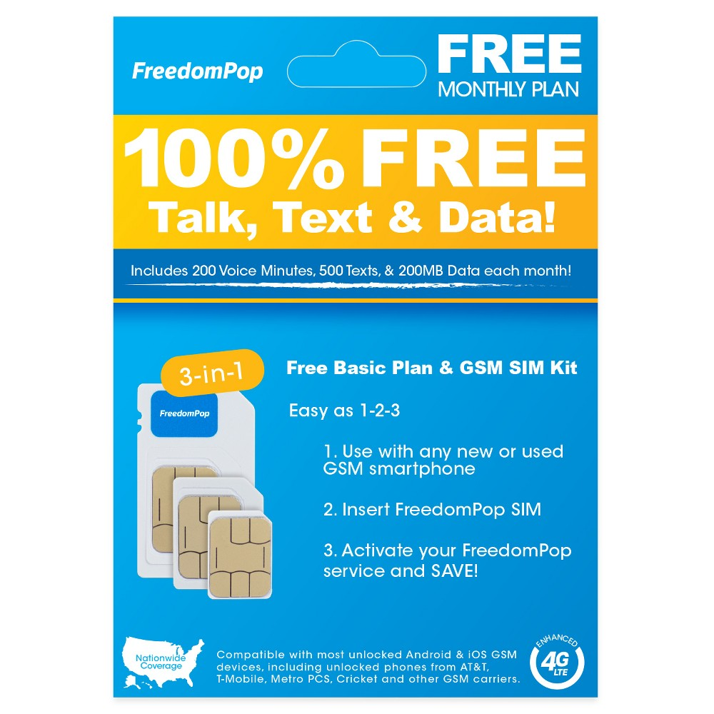 FreedomPop Nationwide 4G LTE 3-in-1 Basic Free SIM Card Kit was $4.99 now $0.99 (80.0% off)