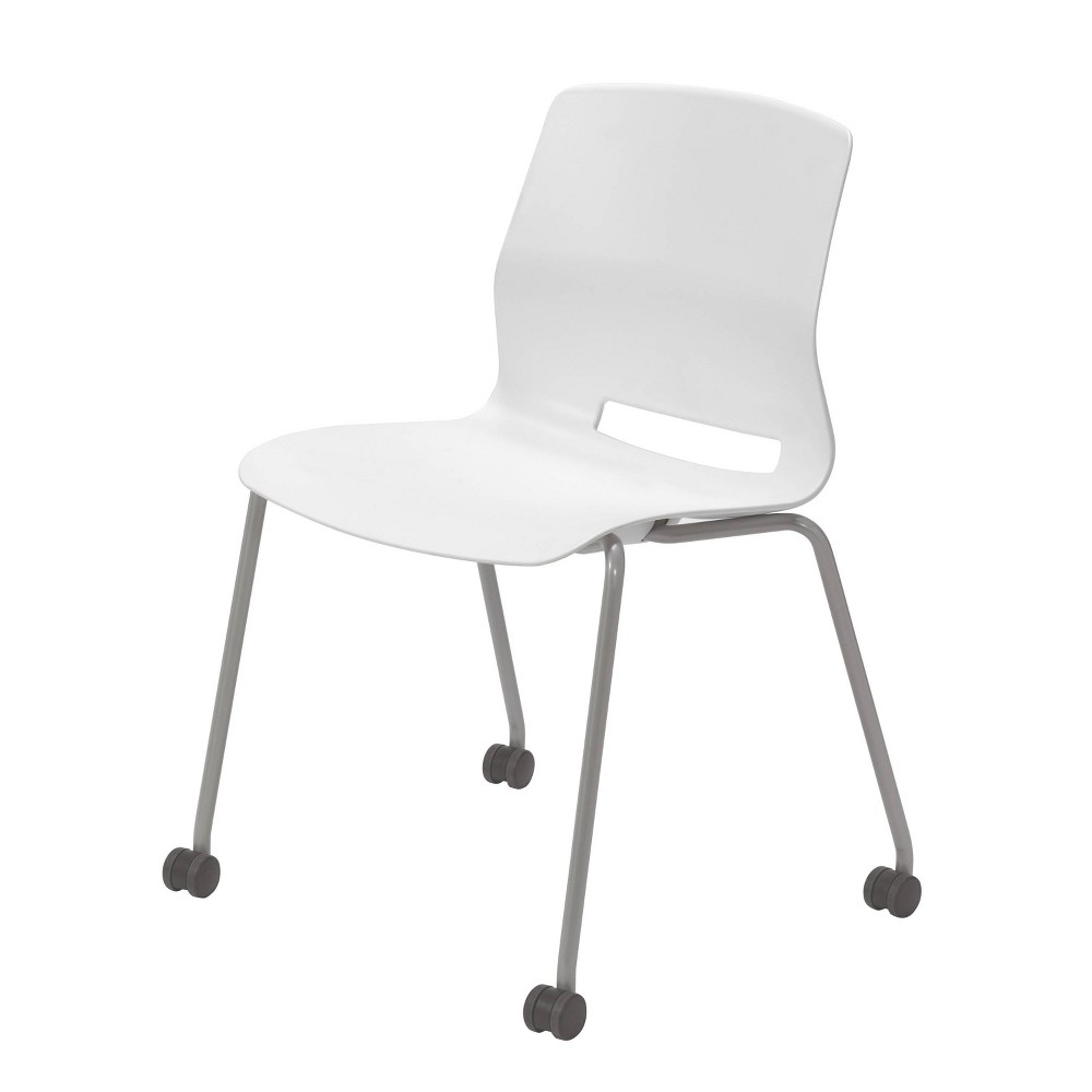Lola Armless Stack Chair with Casters White - Olio Designs