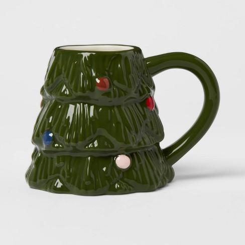 12oz Stoneware Christmas Tree Mug Green Threshold Target