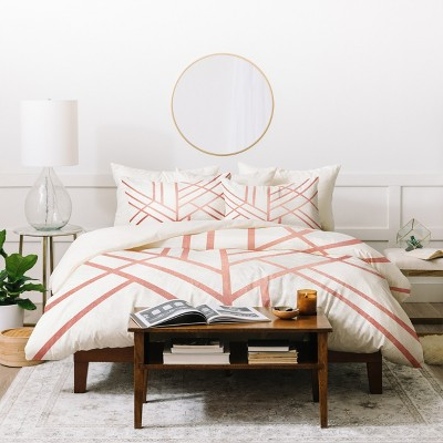 Full/Queen Geometric Elisabeth Fredriksson Art Deco Duvet Cover Set Pink - Deny Designs
