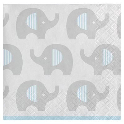 16ct Little Peanut Boy Elephant Cocktail Beverage Napkins, Blue