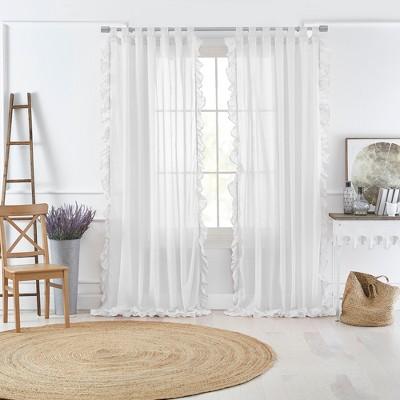 Bella Tab-Top Ruffle Sheer Window Curtain Panel - Elrene Home Fashions