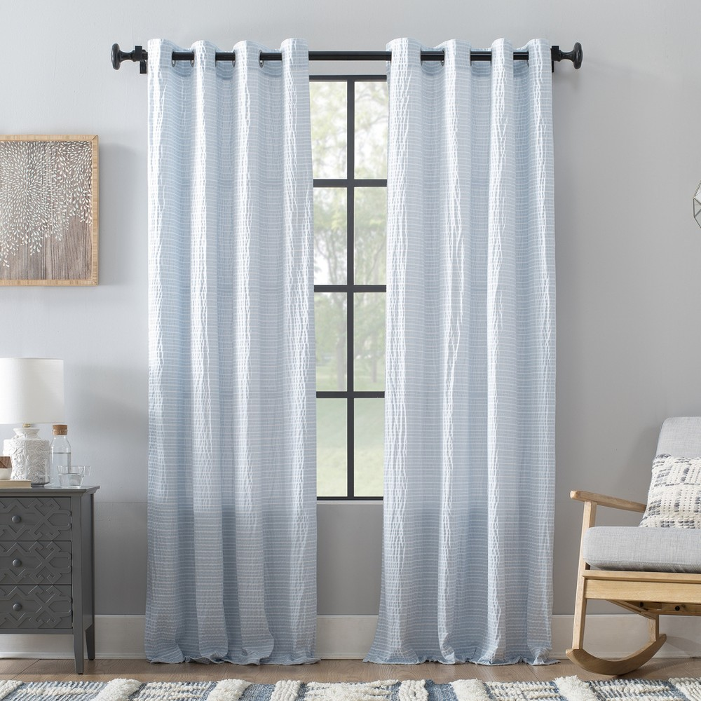 "Image of ""50""""x84"""" Seersucker Stripe Cotton Blend Grommet Top Curtain Blue/White - Archaeo"""