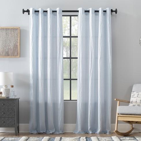 Seersucker Stripe Cotton Blend Grommet Top Curtain - Archaeo - image 1 of 4